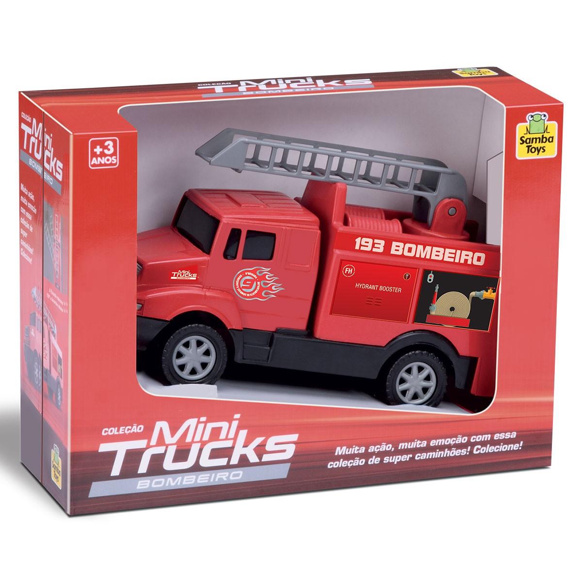 Mini Truck Caminhão de Bombeiro Carrinho Samba Toys Brinquedo Infantil