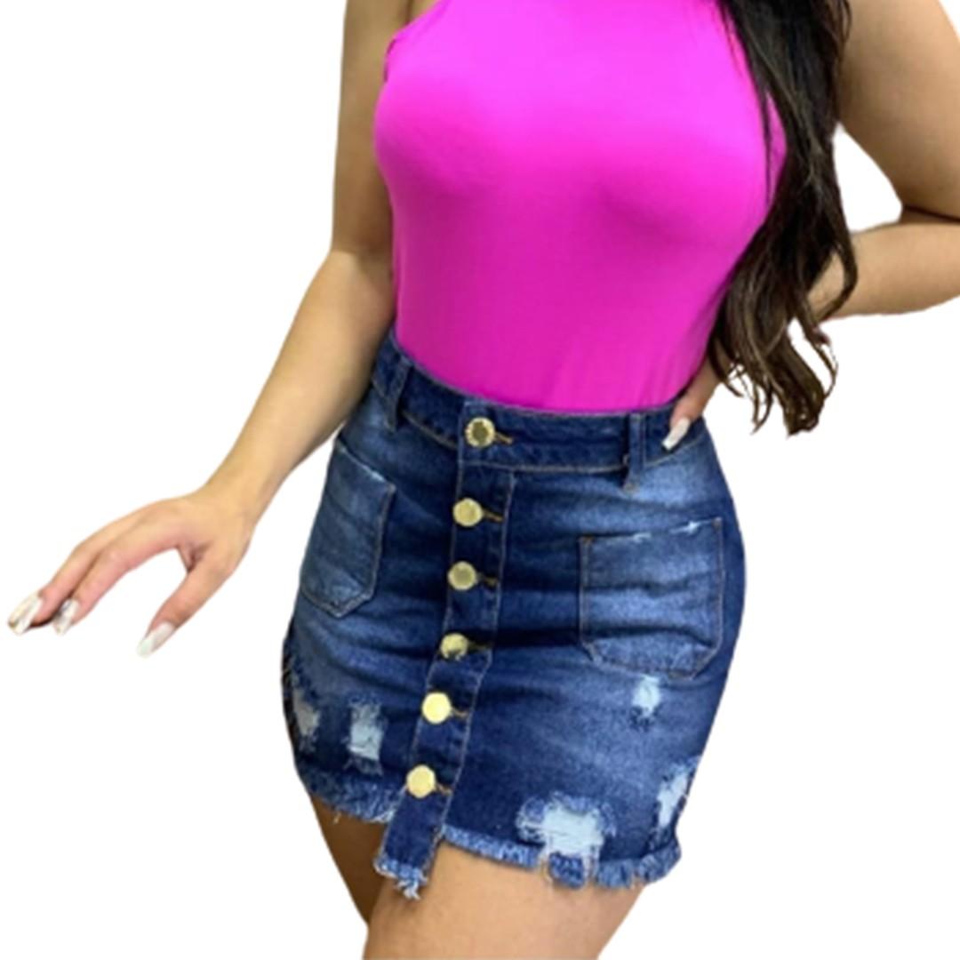 Saia Jeans com botões Adulto Desfiada Feminino Billy Jeans