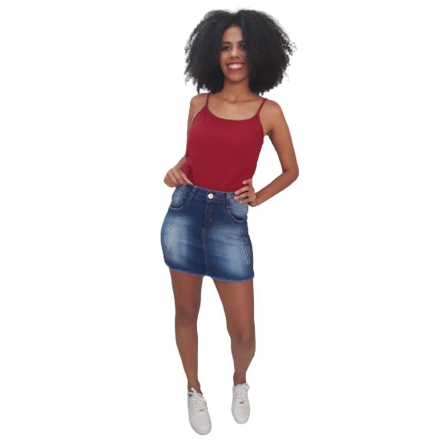 Saia Jeans com Lycra Billy Jeans Lavagem Desfiada Feminina Adulto