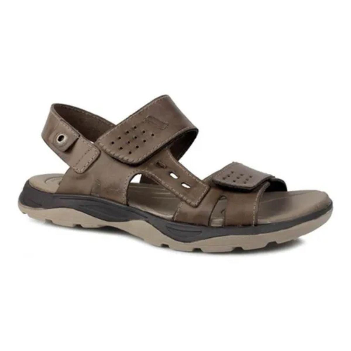 Sandália Itapuã Com Velcro Couro Masculino Marrom