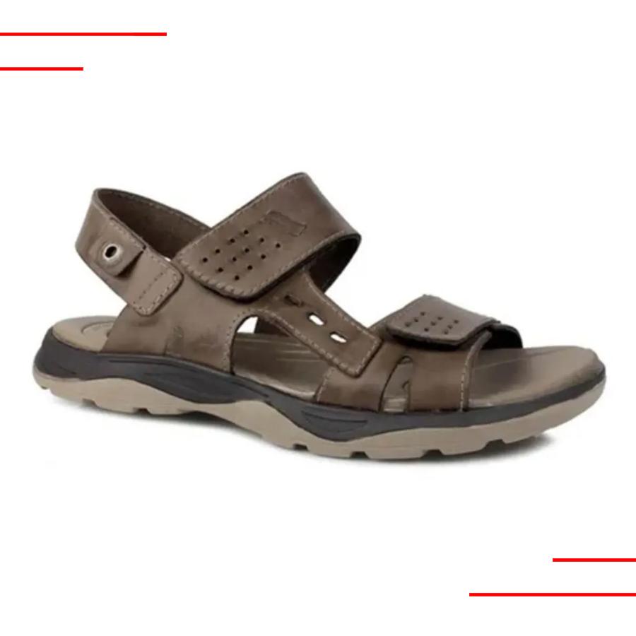 Sandália Itapuã Com Velcro Couro Masculino Marrom 1204AB19