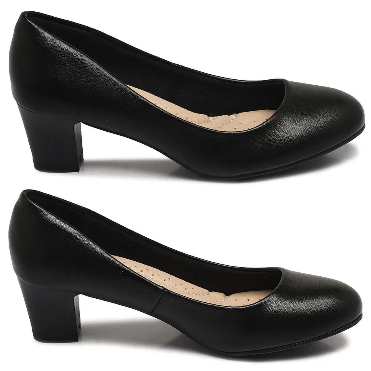 Sapato Scarpin Facinelli Salto Baixo Grosso Feminino