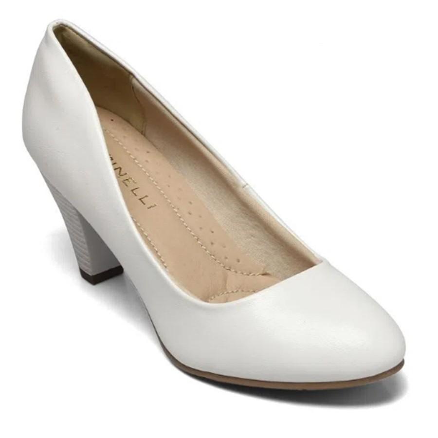 Sapato Scarpin Feminino Branco e Nude Feminino Adulto