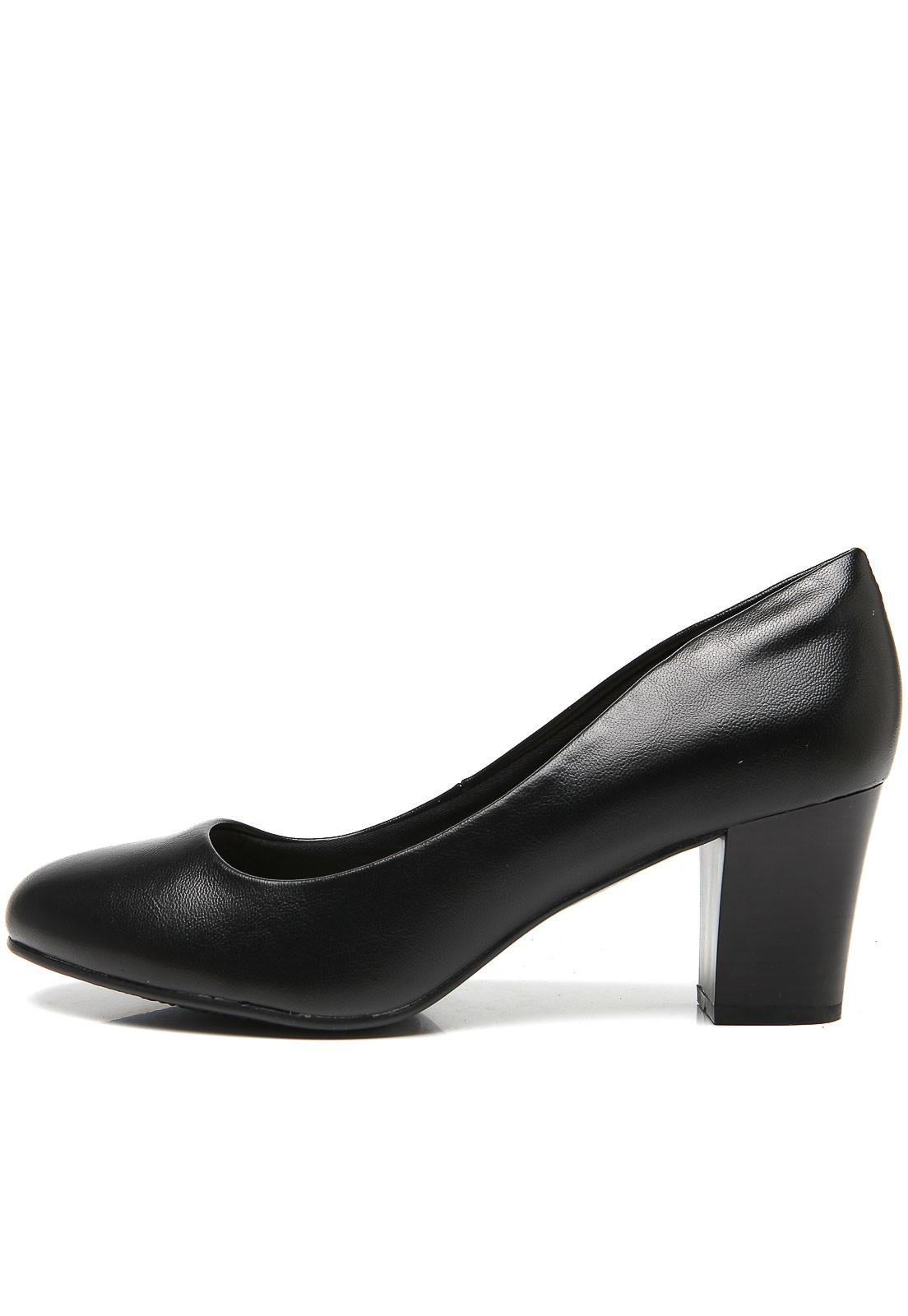 Sapato Scarpin Salto Alto Grosso Feminino Preto