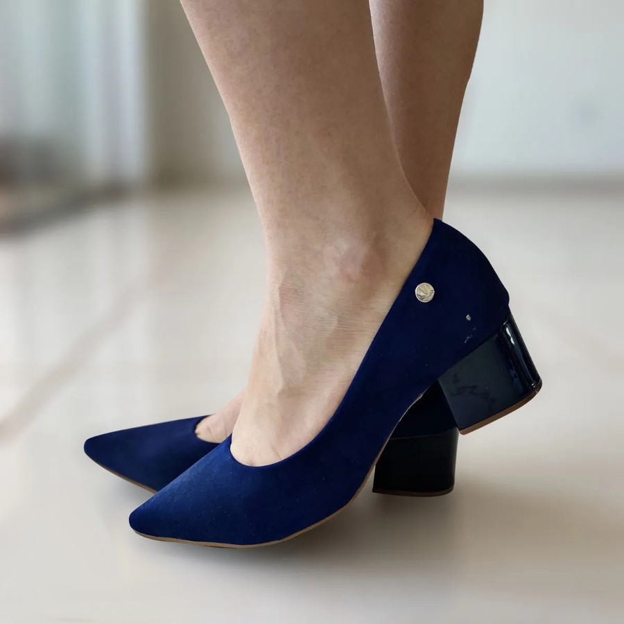 Sapato Social Feminino Vizzano Moderno Conforto Bico Fino Salto Médio Grosso Nobuck