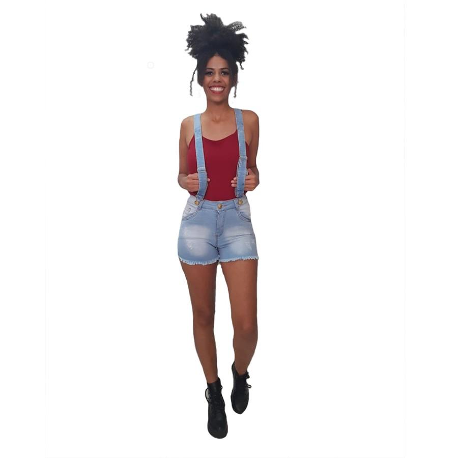 Shorts com Lycra + Suspensório Billy Jeans Desfiado Feminino Adulto