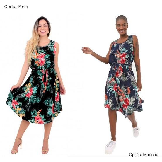Vestido Midi Estampado Florido Facinelli Feminino