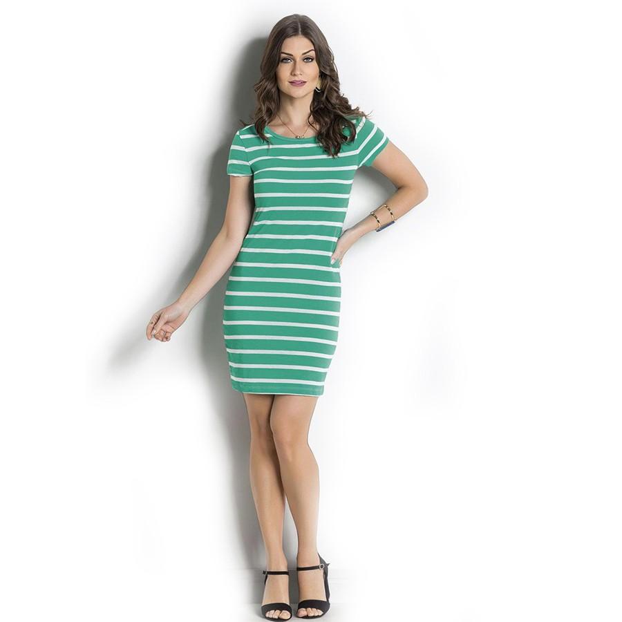 Vestido Midi Verde Manca Curta Mirasul