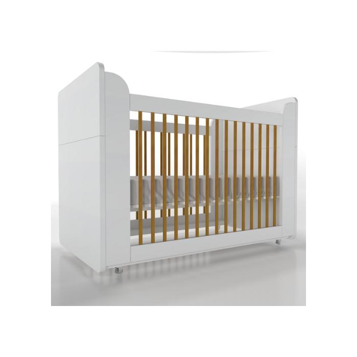 Berço Infantil Optimus Branco e Mel (Completo 3 Versões) - Timber Móveis