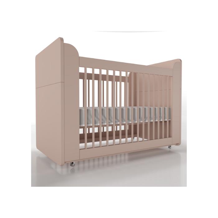 Berço Infantil Optimus Rosa (Completo 3 Versões) - Timber Móveis