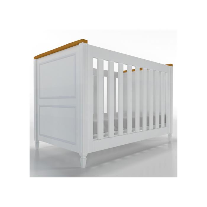 Berço Infantil Tudor Branco e Madeira Mel - Timber Móveis