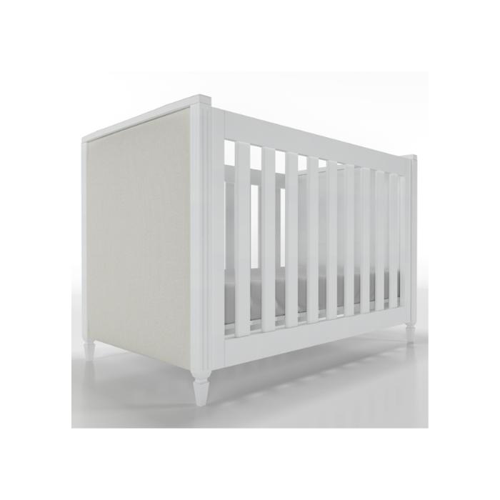 Berço Infantil Tudor Branco Com Estofado - Timber Móveis