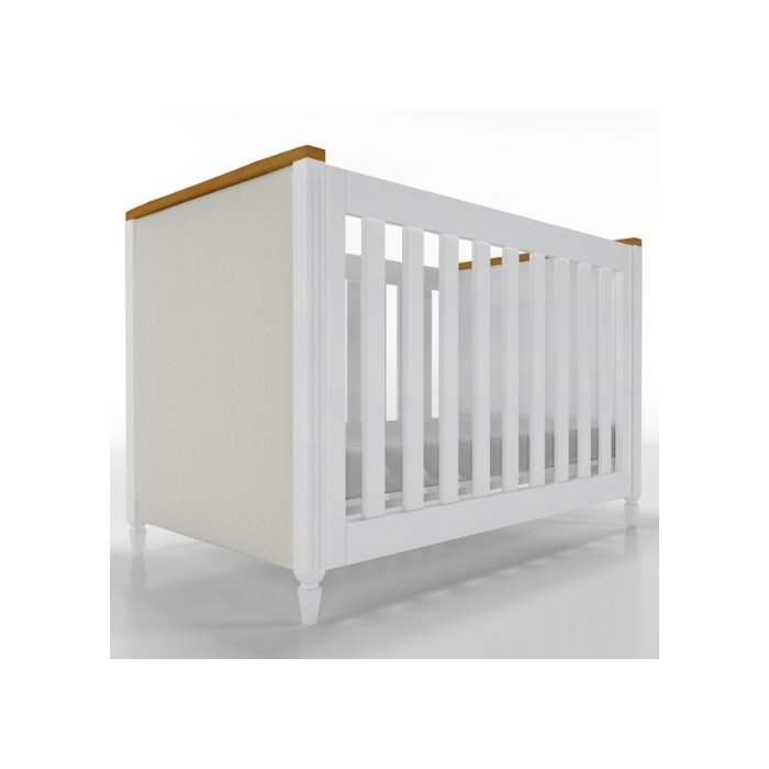 Berço Infantil Tudor Branco e Madeira Mel Com Estofado - Timber Móveis