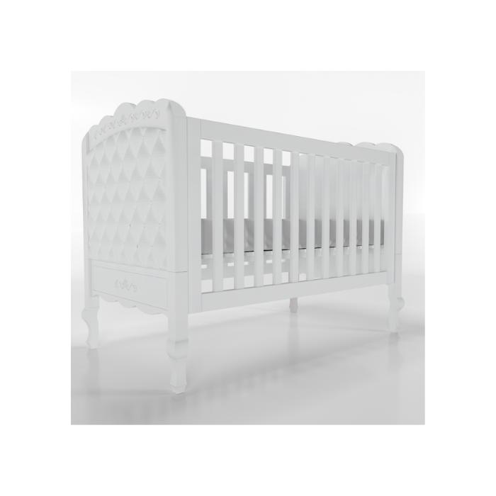 Berço Infantil Versailles Branco Com Estofado Capitonê - Timber Móveis