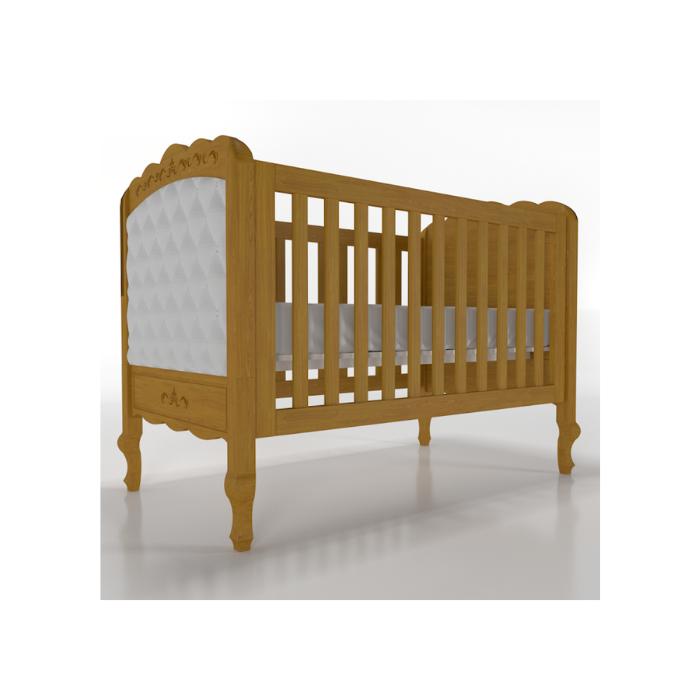 Berço Infantil Versailles Madeira Mel Com Estofado Capitonê - Timber Móveis