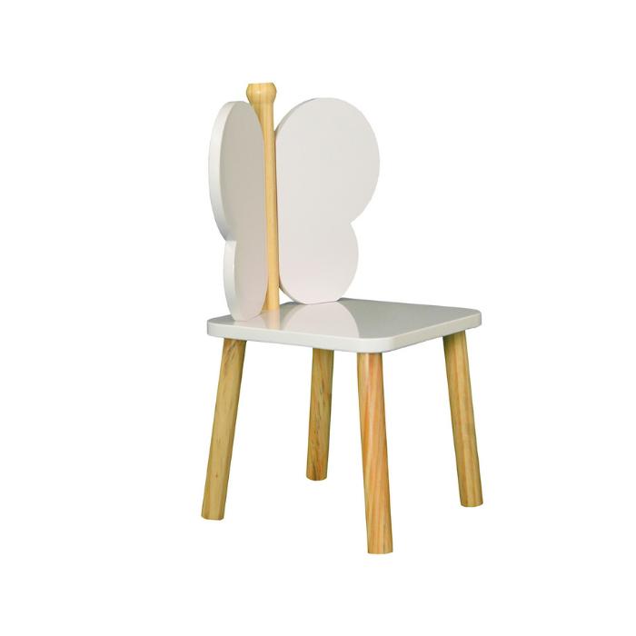 Y Cadeira Infantil Hora de Brincar Branco Com Madeira Natural - Divicar Móveis