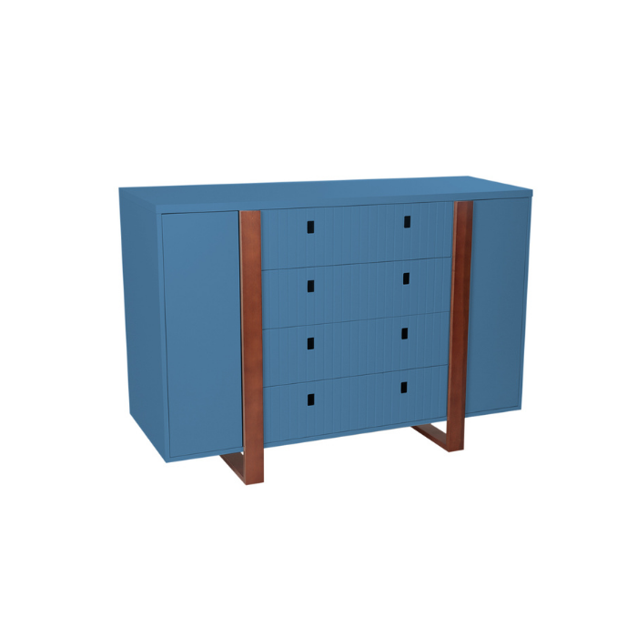 Cômoda Com Porta Dominó Azul/Mel - Divicar Móveis