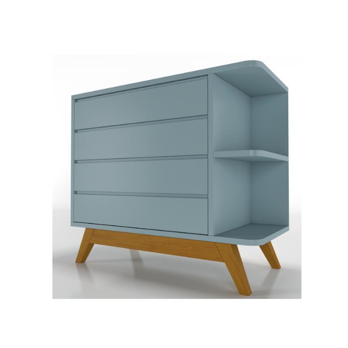 Cômoda Galaxy Azul (Base Madeira Mel) - Timber Móveis