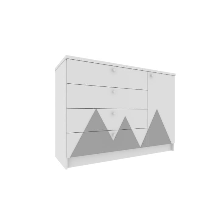 Cômoda Infantil Montanha Branca Com Aplique Cinza - Divicar Móveis