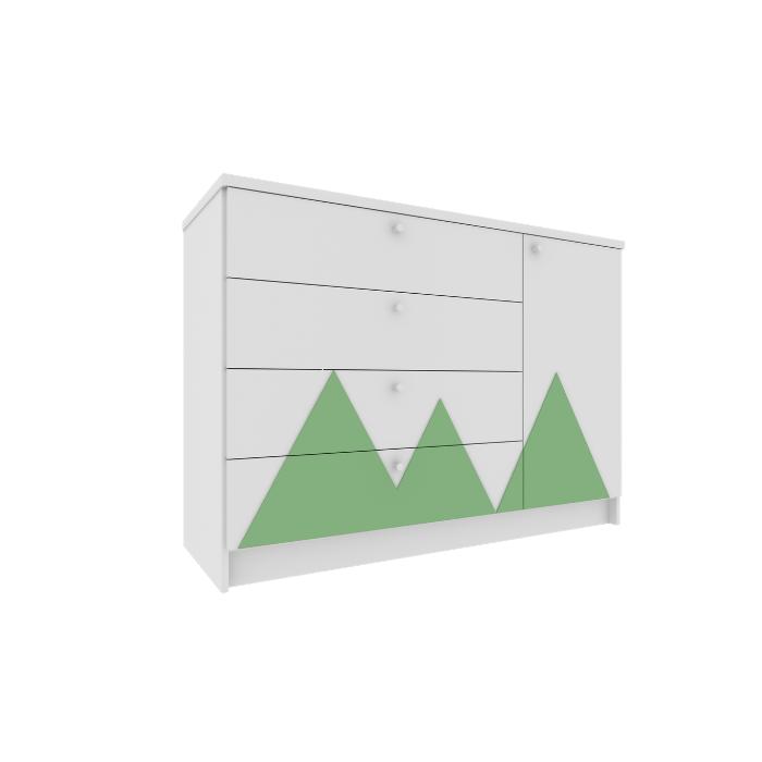 Cômoda Infantil Montanha Branca Com Aplique Verde - Divicar Móveis