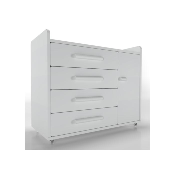 Cômoda Optimus Branca (Rodízio Gel) - Timber Móveis