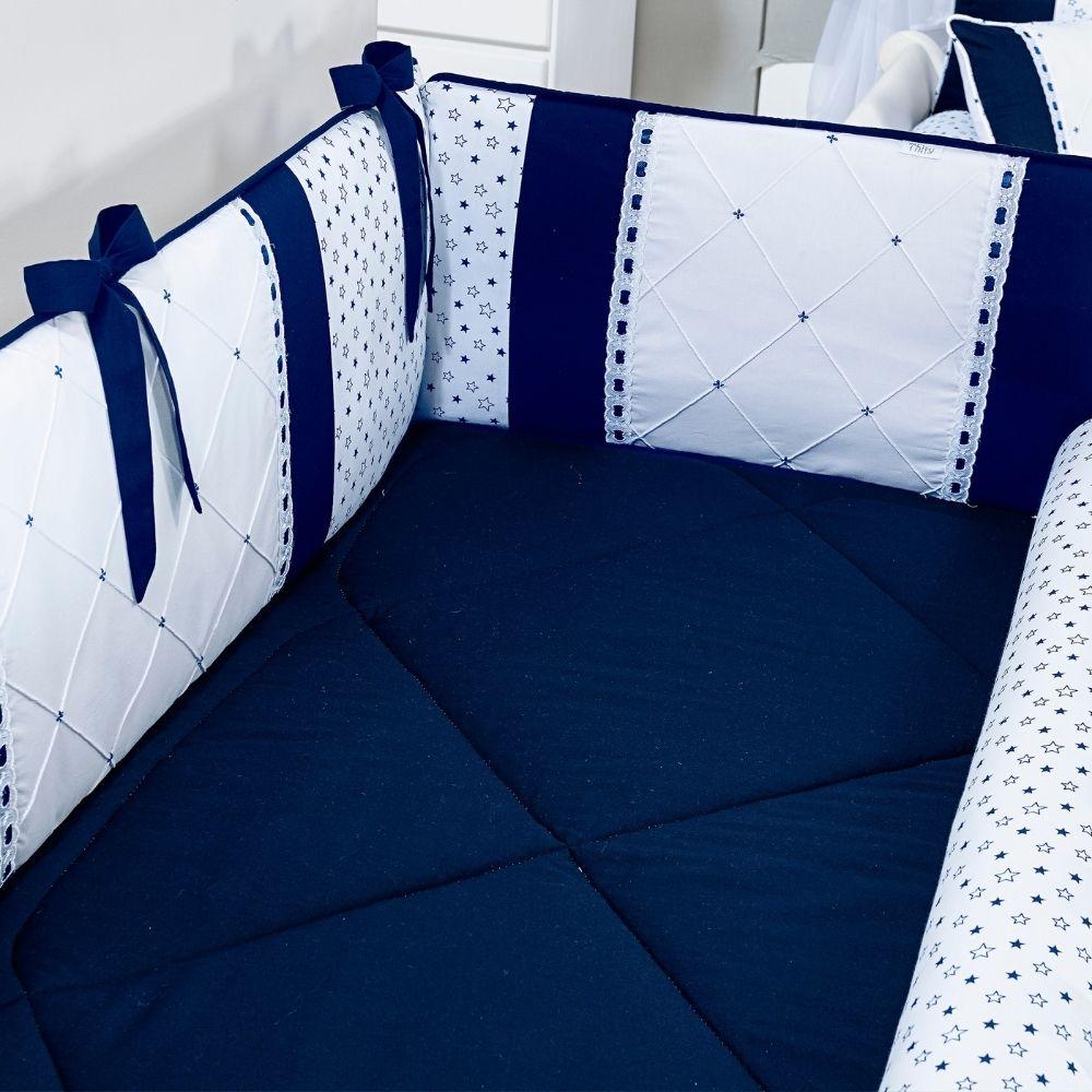 Kit De Berço Azul e Branco Padrão Americano - 8 Peças - Thity