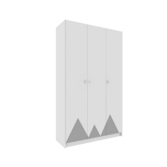Roupeiro Infantil Montanha Branco Com Aplique Cinza - Divicar Móveis