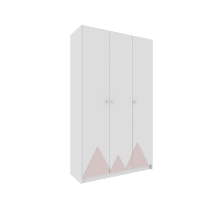 Roupeiro Infantil Montanha Branco Com Aplique Rosa - Divicar Móveis