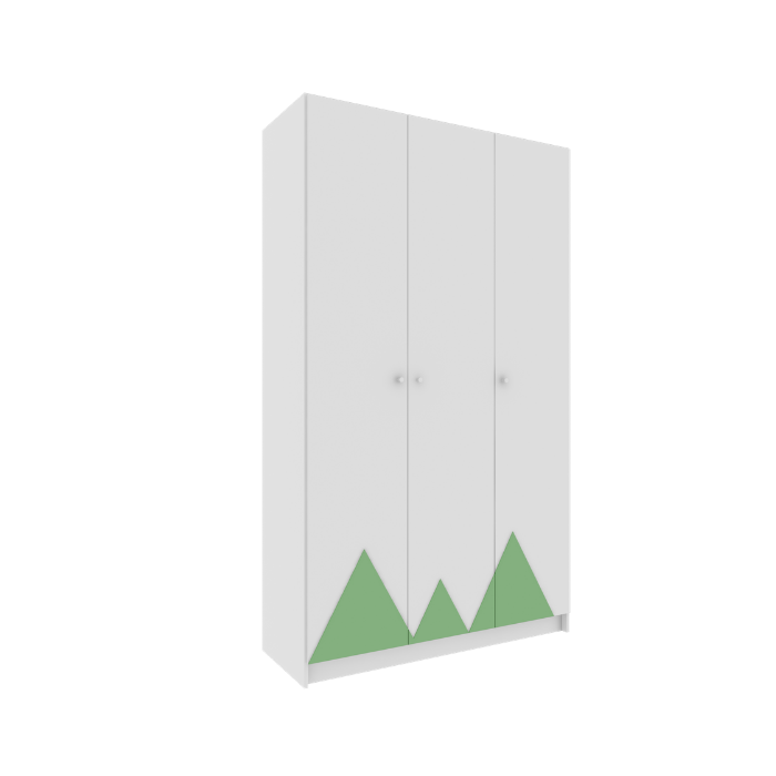 Roupeiro Infantil Montanha Branco Com Aplique Verde - Divicar Móveis