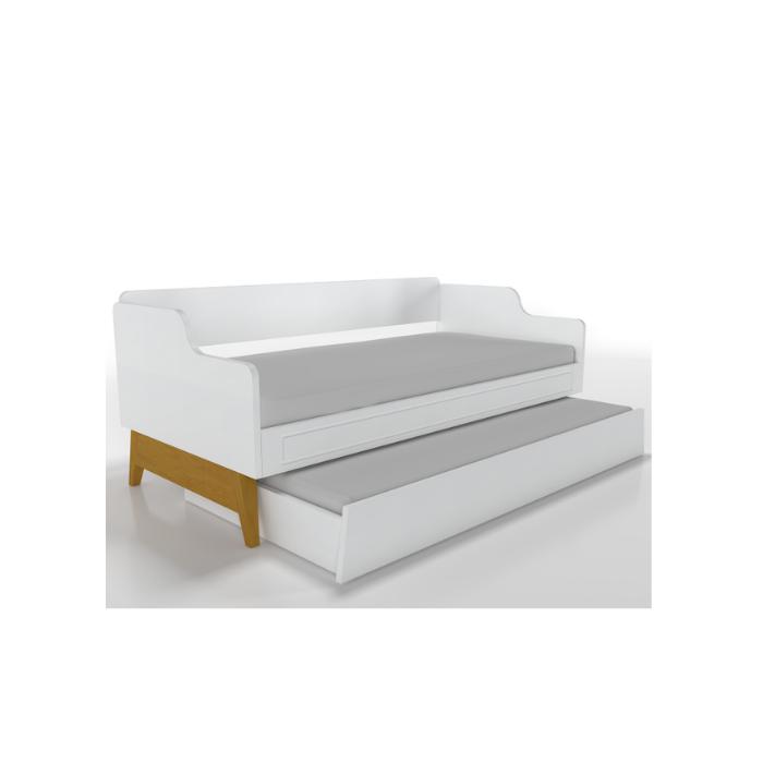 W Cama Sofá Galaxy Branca Com Cama Auxiliar - Timber Móveis