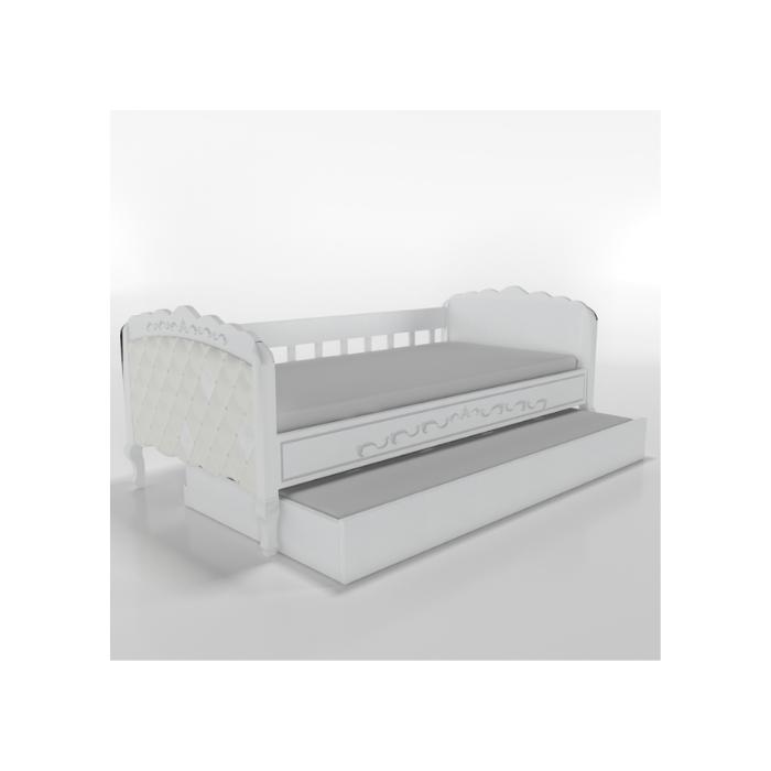 W Cama Sofá Versailles Branca Com Estofado Capitonê + Auxiliar - Timber Móveis