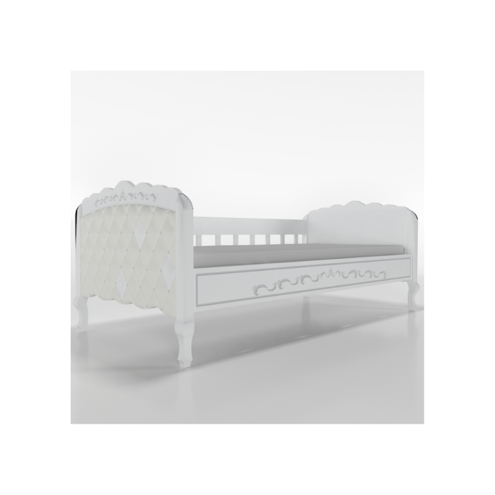 W Cama Sofá Versailles Branca Com Estofado Capitonê - Timber Móveis