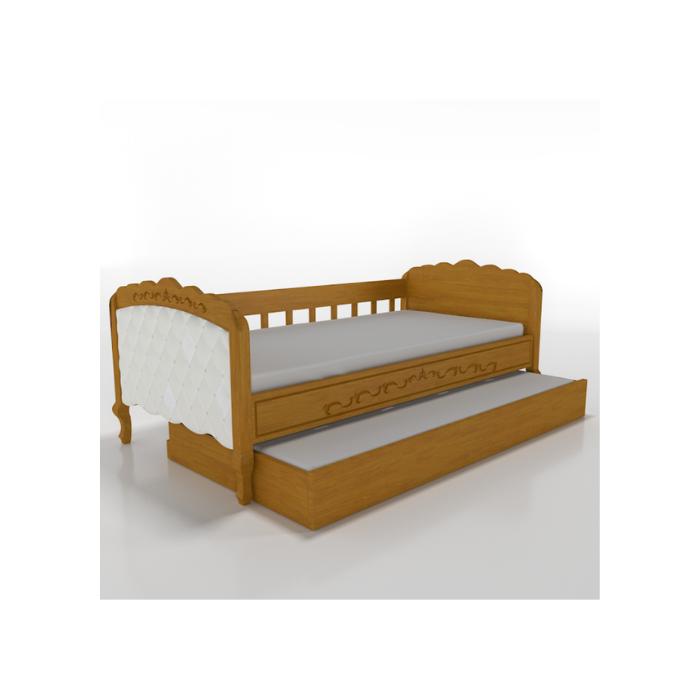 W Cama Sofá Versailles Madeira Mel Com Estofado Capitonê + Auxiliar - Timber Móveis