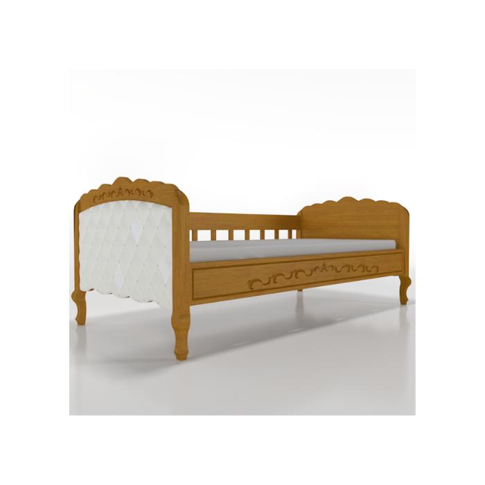 W Cama Sofá Versailles Madeira Mel Com Estofado Capitonê - Timber Móveis