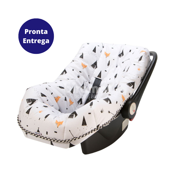Z - Capa Para Bebê Conforto Ajustável Estampa Fox Preto - Biramar