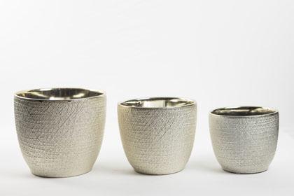 Conjunto cachepot em prata com textura e brilho - P,M,G