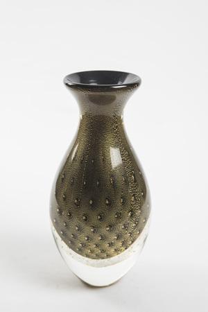 Vaso murano preto com ouro