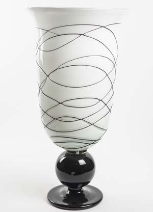 Vaso Vidro Branco e Preto