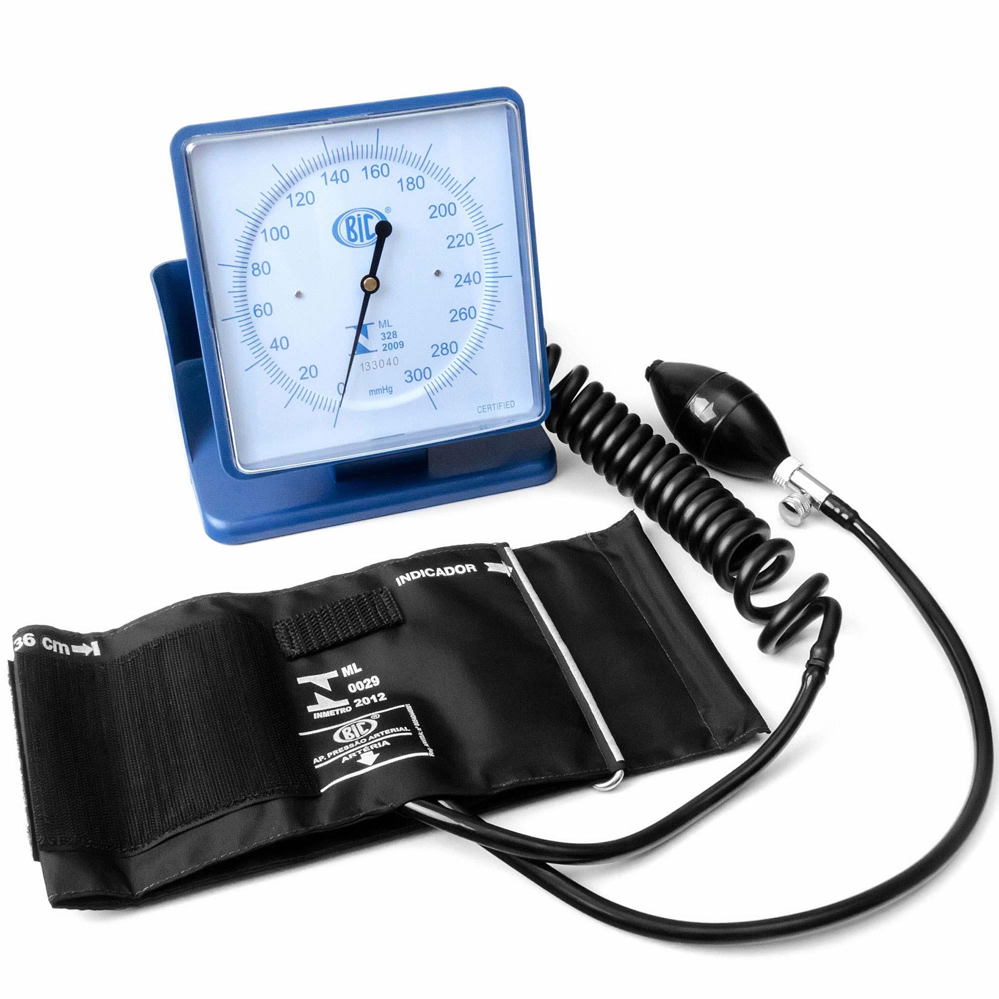 Aparelho de Pressão Arterial Adulto Hospitalar De Mesa ou Parede Nylon Azul Bic