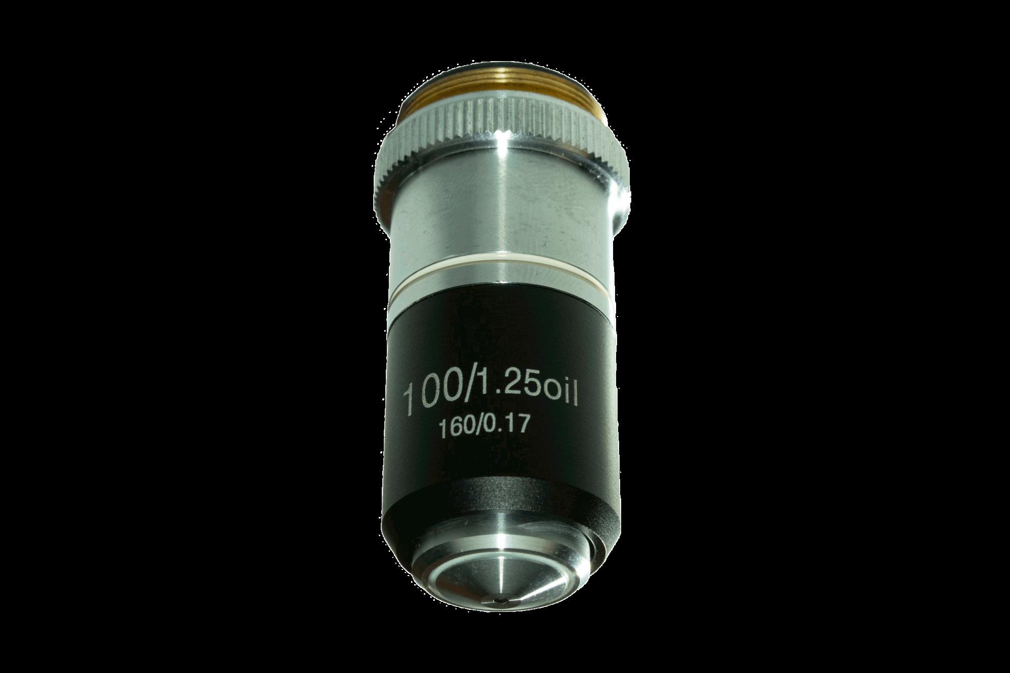 Lente Objetiva para Microscópio BEL Acromática 100x 160MM