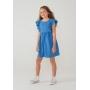 Vestido Infantil Com Babados Azul - Hering