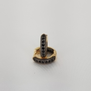 Argola Microzirconia detalhe Rodio Negro semijoia/1188 T14