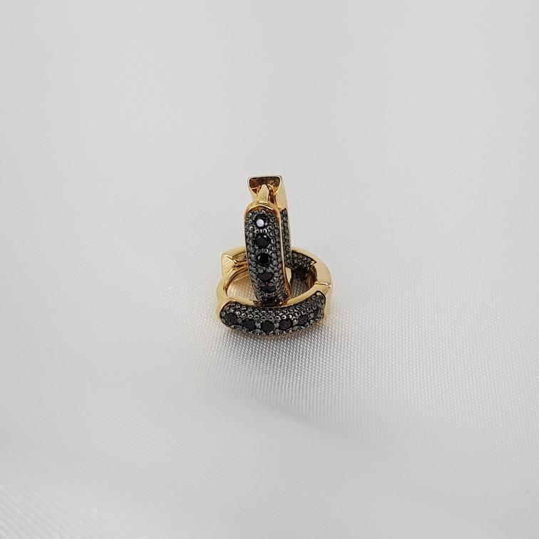 Argola Microzirconia detalhe Rodio Negro semijoia/1188 T12