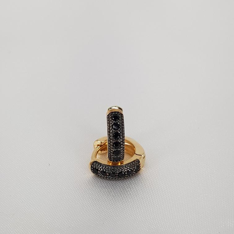 Argola Microzirconia detalhe Rodio Negro semijoia/EK1188 T12