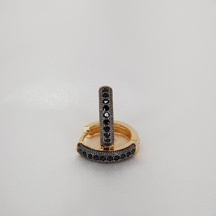 Argola Microzirconia detalhe Rodio Negro semijoia/ EK1188 T16