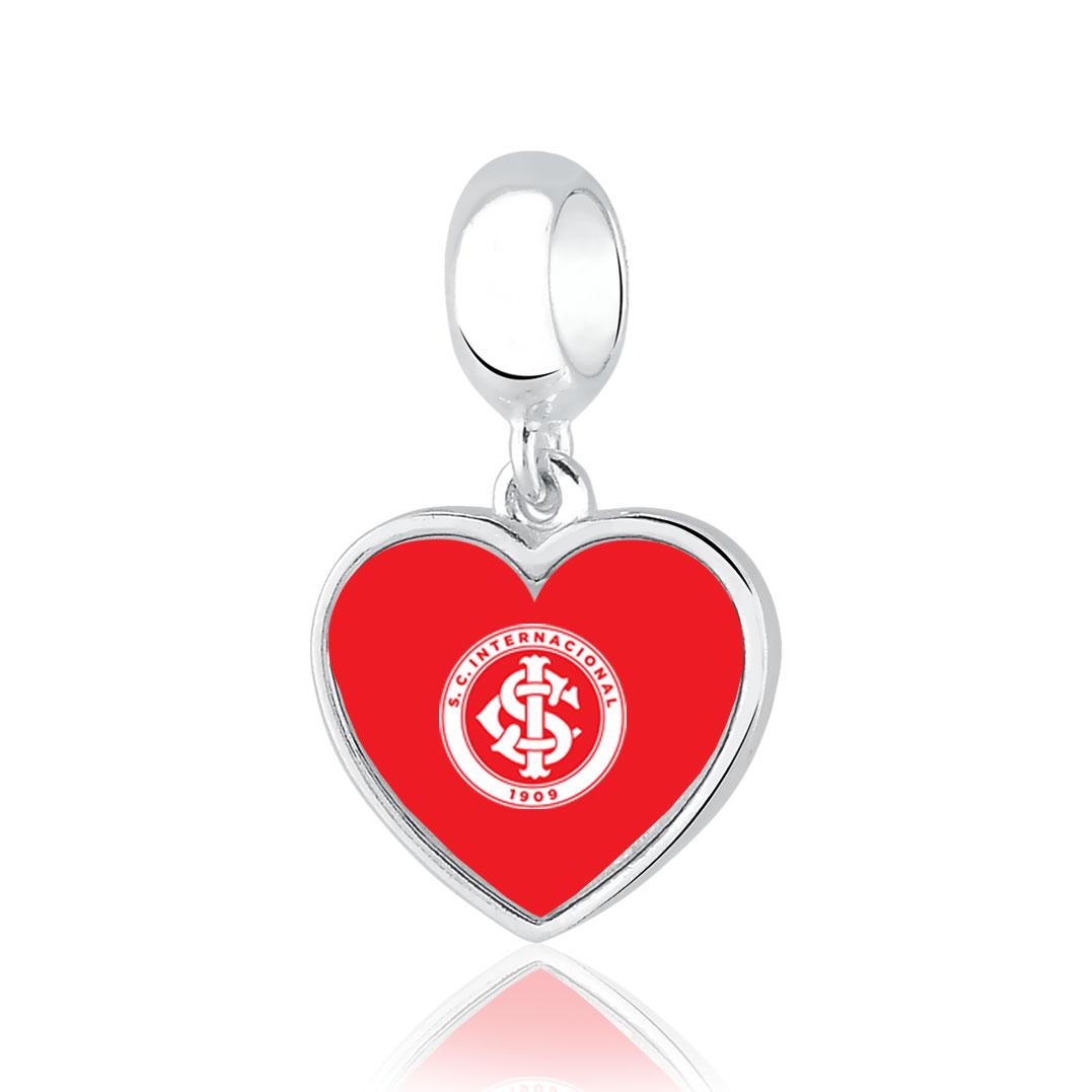Berloque Inter Coração Colorado Prata 925