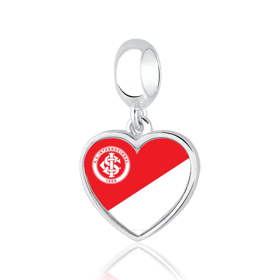 Berloque Inter Coração Brasão Prata 925