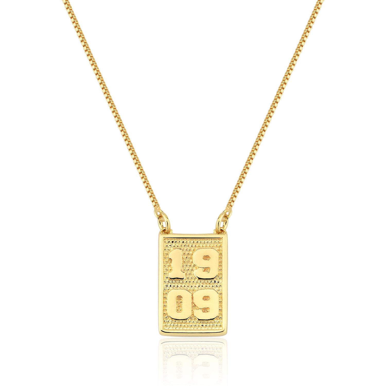 Colar  Folheado Ouro 18k Pingente Placa 1909