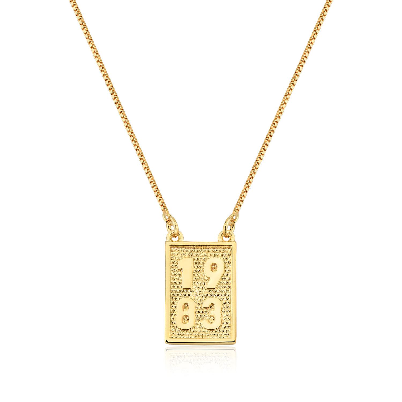 Colar  Folheado Ouro 18k  Pingente Placa 1983