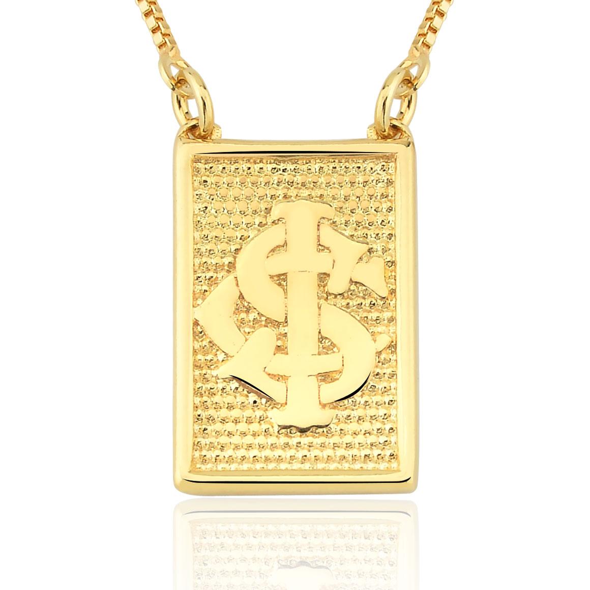 Colar folheado Ouro 18k Pingente Placa Brasão Internacional